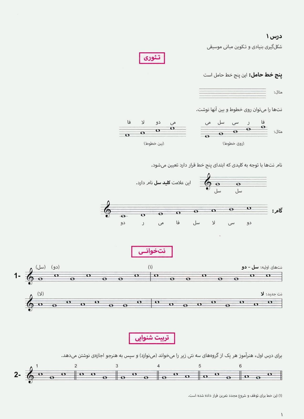 شکل گیری بنیادی و تکوین مبانی موسیقی 1