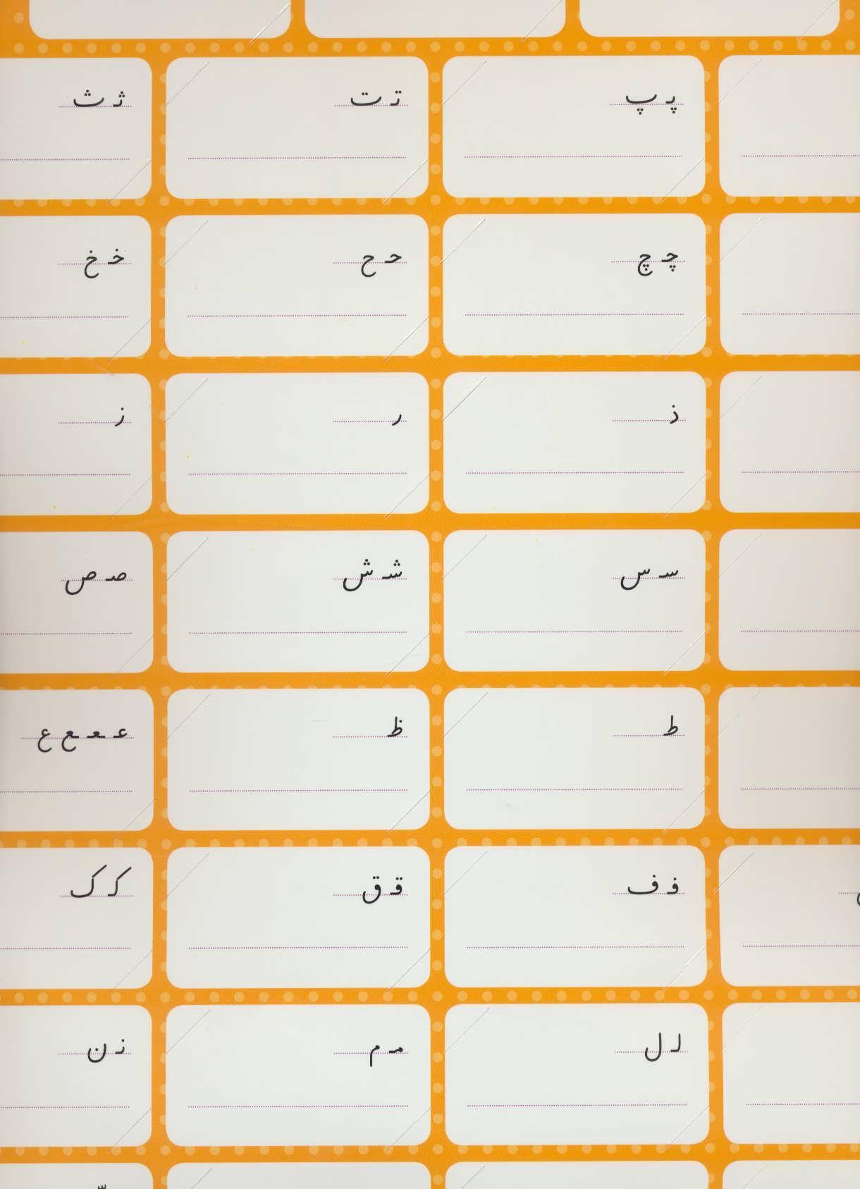 جدول شکل صداها و حروف الفبای فارسی (گلاسه)