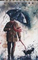 دفتر یادداشت بی خط 14*9 (طرح مردی با چتر،کد 2)،(سیمی،کاغذ نخودی)