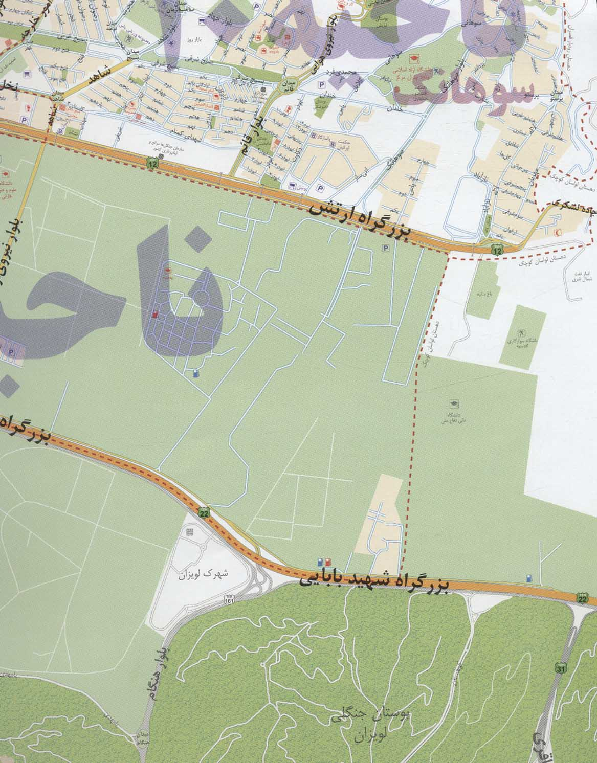 نقشه شهرداری تهران منطقه 1 (کد 401)،(گلاسه)