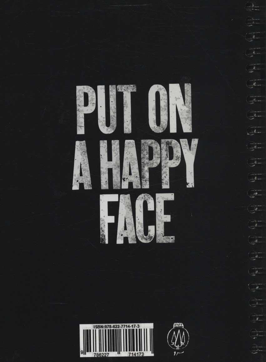 دفتر یادداشت بی خط (PUT ON A HAPPY FACE:چهره ای شاد به پا کنید)،(سیمی،کاغذ مشکی)